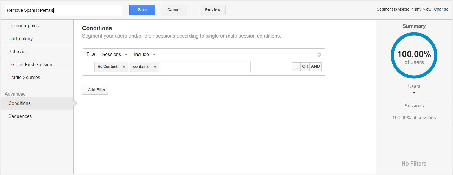 Google Analytics new segment