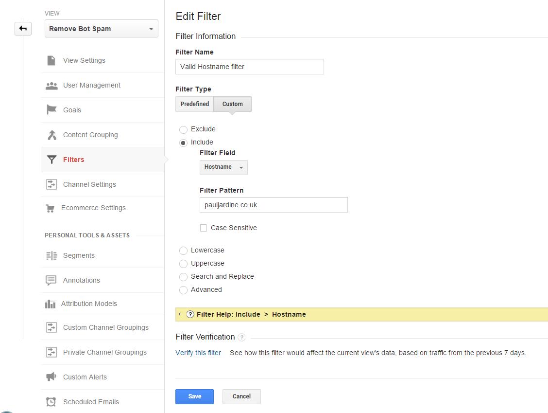 Google Analytics valid hostname filter
