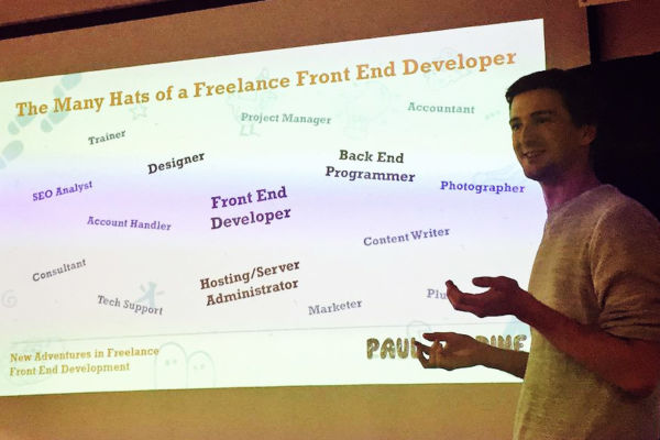Stockport Web Designer Paul Jardine presenting at MCR_Fred - New adventures in Freelance Front-end Development