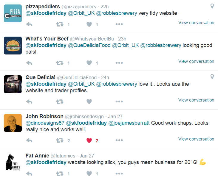Foodie Friday website feedback from Twitter