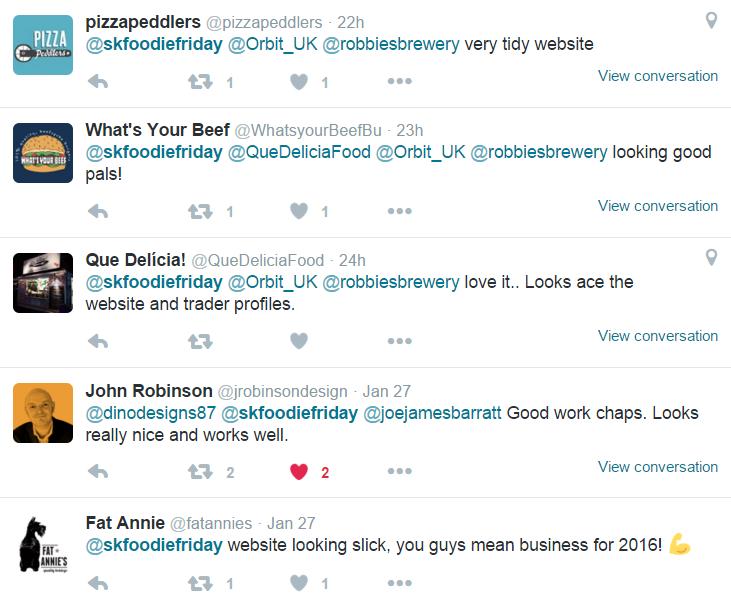 Foodie Friday website feedback from Twitter