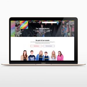 The Teenage Market website as viewed on a laptop