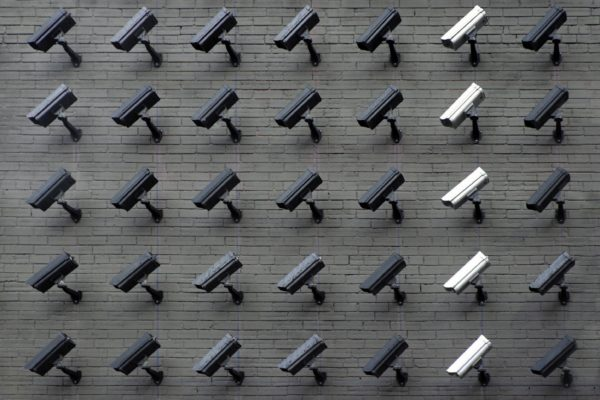 Wall of security cameras.