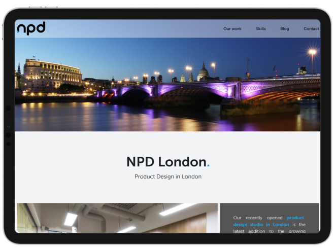 The North Product Design website as viewed on an iPad.