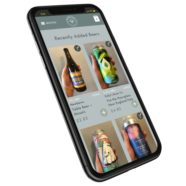 The Heaton Hops website displayed on a mobile phone.