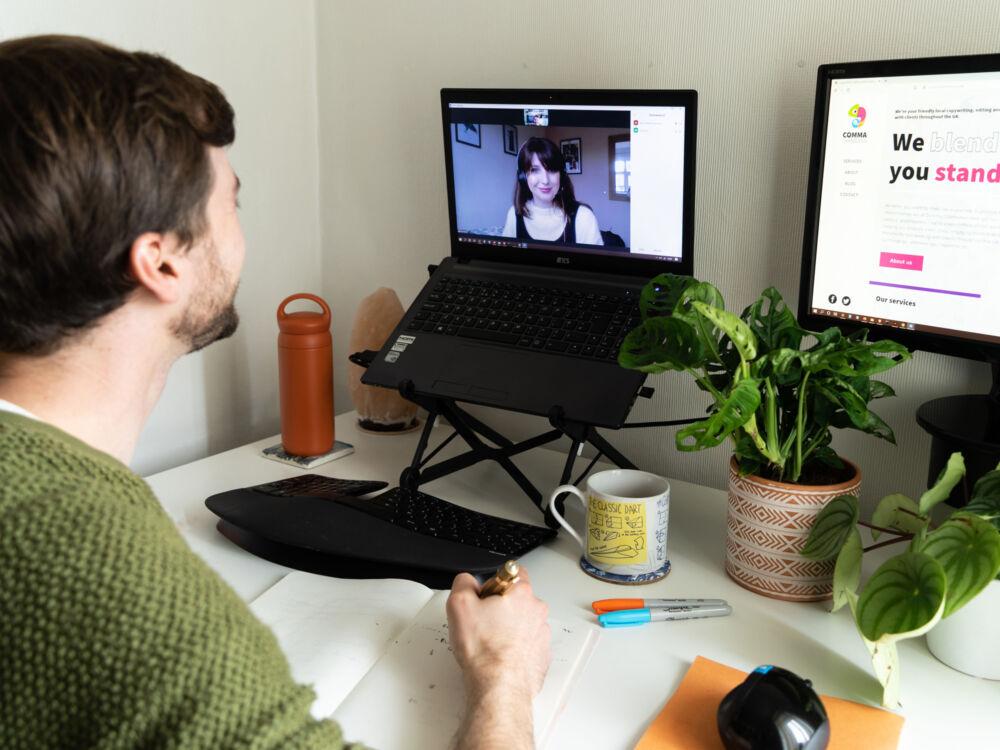 The web designer Paul Jardine sat at his desk doing a video call.