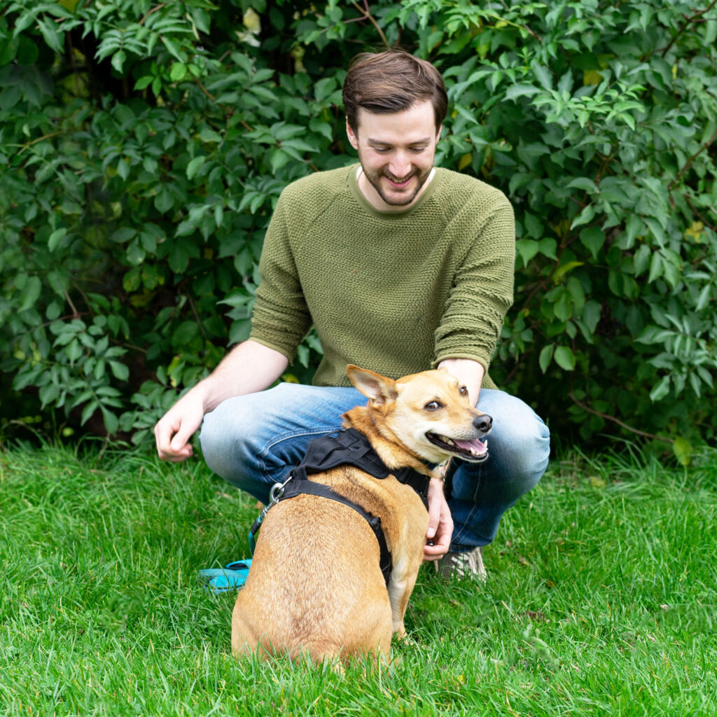 Paul Jardine, the owner of PJ Web Design and his dog Bo.