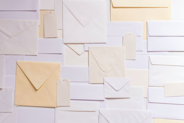 Lots of envelopes arranged in a pattern.