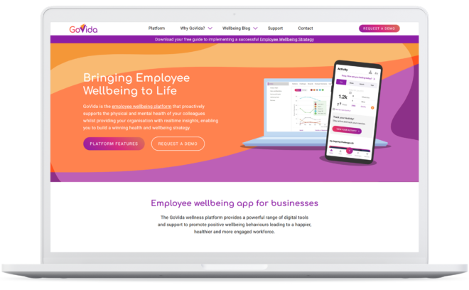 GoVida Wellbeing website Home page as viewed on a laptop.