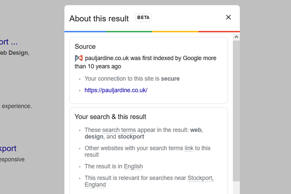 Screenshot of Google's 'About this result' popup.