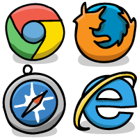 Web browser icons - Chrome, Firefox, Safari, Internet Explorer
