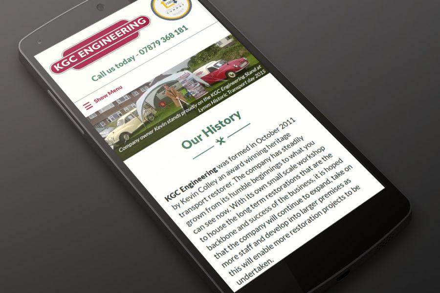 KGC Engineering Website as viewed on mobile phone