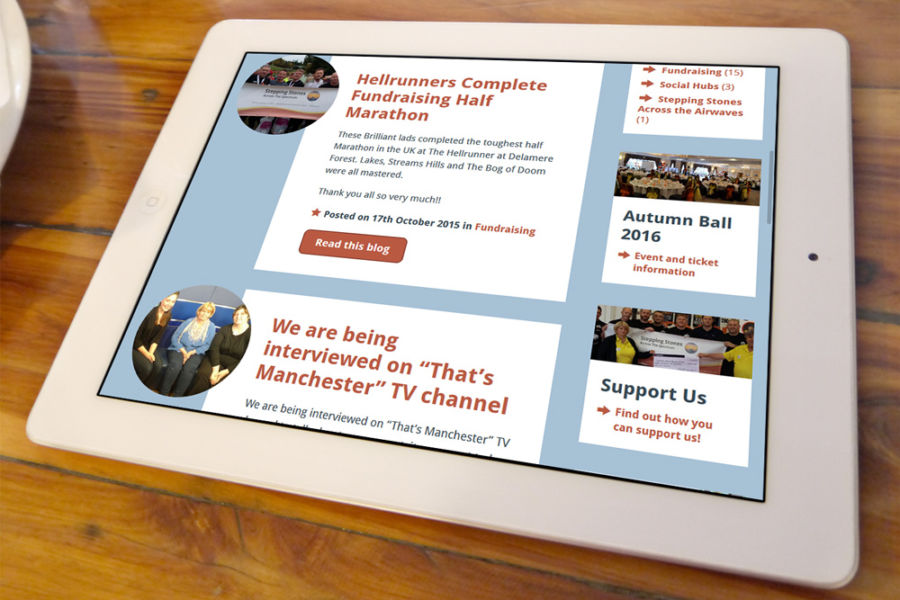 Stepping Stones Across the Spectrum website as viewed on a tablet device