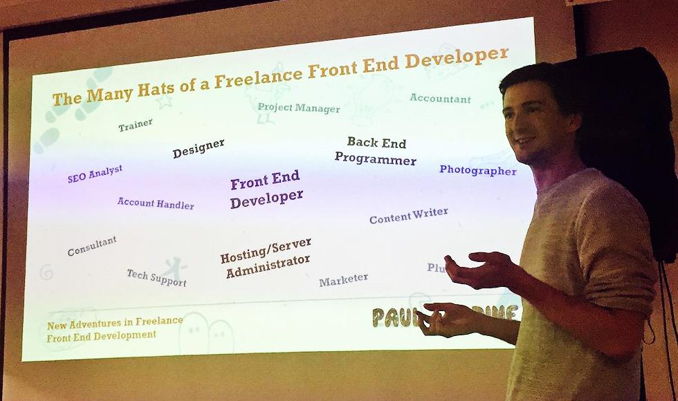 Stockport Web Designer Paul Jardine presenting at MCR_Fred - New adventures in Freelance Front-end Development