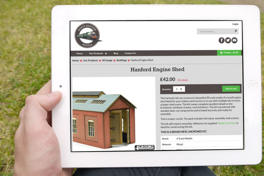The North Western Models website as viewed on a tablet device.