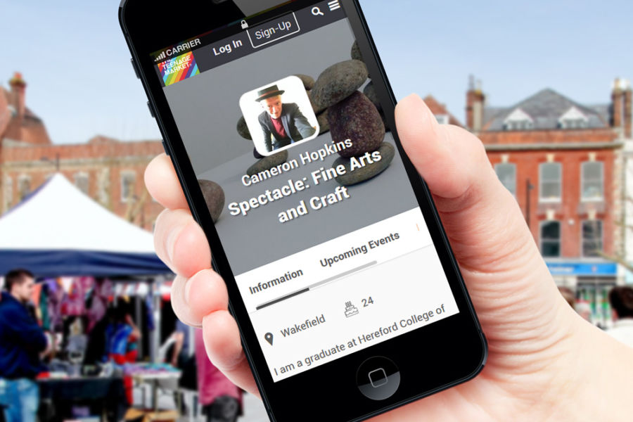 The Teenage Market website as viewed on a mobile phone